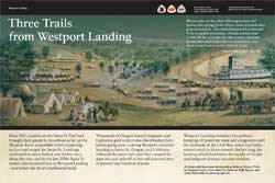 "thumbnail image of exhibit panel titled ""Three Trails from Westport Landing"""