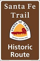 Brown Santa Fe NHT historic route sign with trail logo