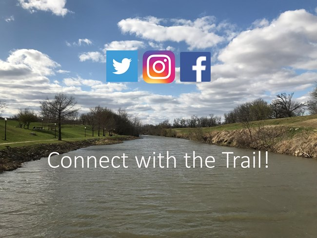 A wide river with flat, vegetated banks, and the logos of facebook, twitter and instagram.