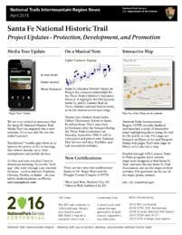 Side 1 of the Santa Fe NHT newsletter with text and images