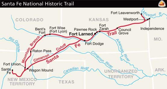 Image result for map of the santa fe trail