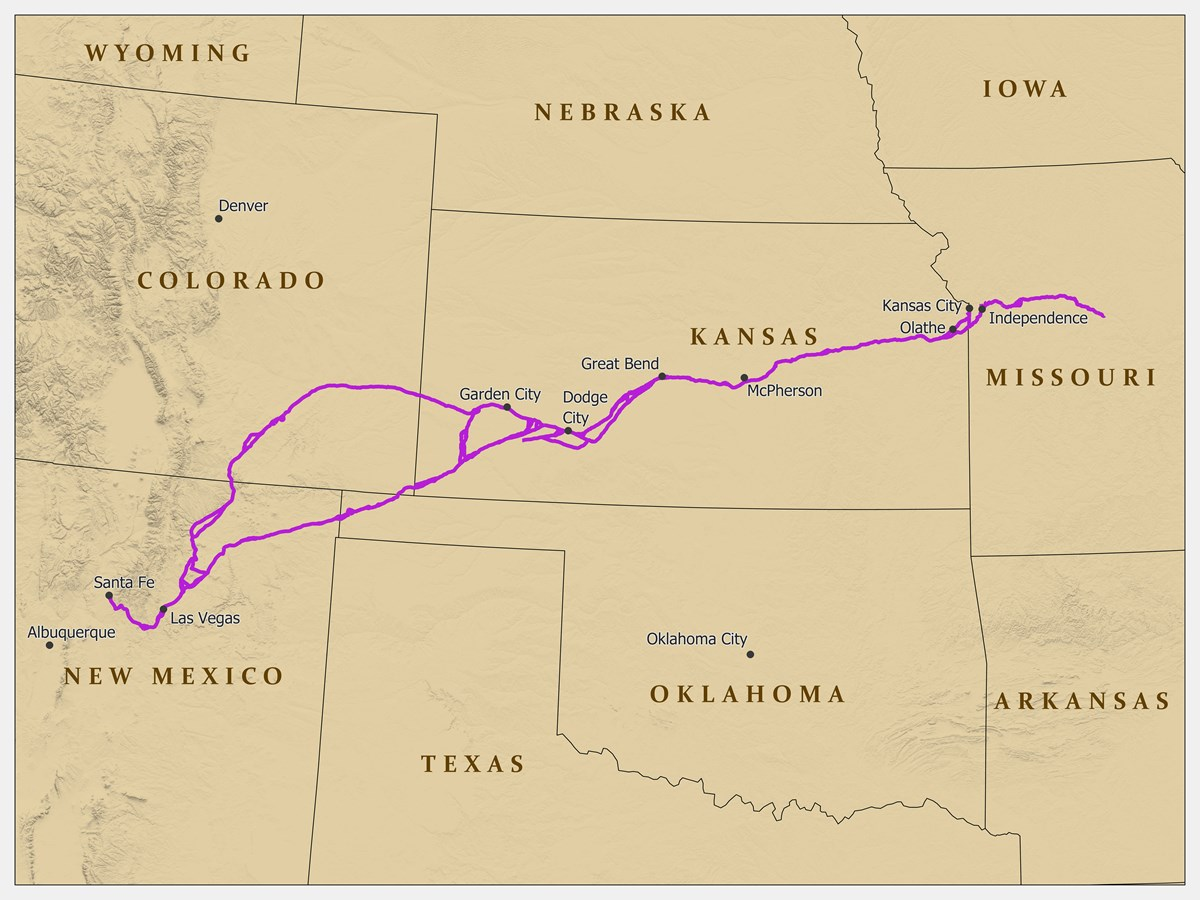 A map depicting a trail from Missouri to Santa Fe, NM.