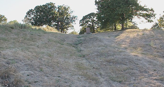 steep rut with shrubby grass, a stone plaque, and trees