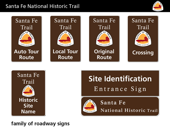 a bunch of brown logos w Santa Fe Trail on them