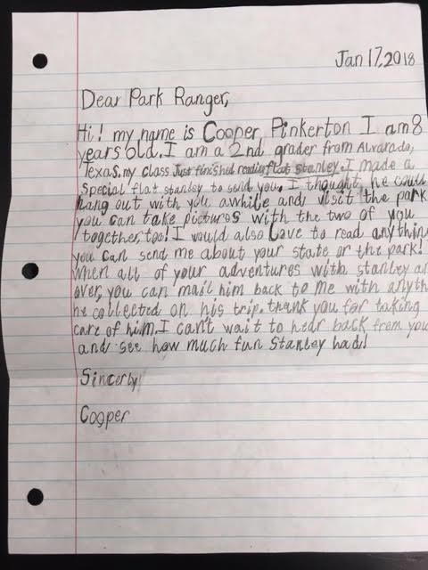 Flat Stanley Response Letter from www.nps.gov