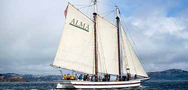 The scow schooner Alma sailing on San Francisco Bay.
