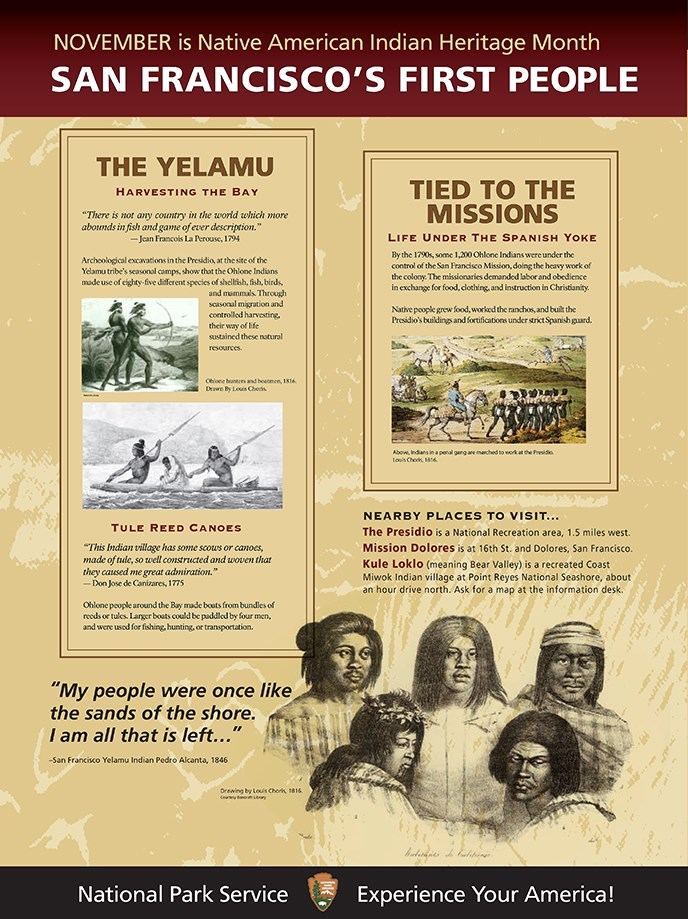 A collage of images and words about Native Americans in the Bay area.