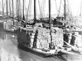Scow schooner with a huge load of hay bales stacked high on the deck.
