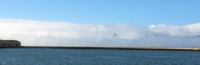 Fog obscuring the Golden Gate Bridge.