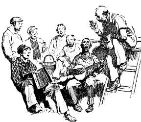 Black and white drawing of sailors playing instruments and singing.