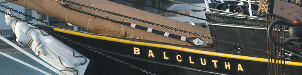 A section of the bowsprint and figurehead on the bow of BALCLUTHA.