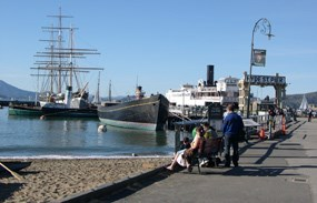 A view looking north of Hyde Street Pier and the historic ships.