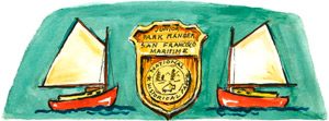A colorful drawing of a Junior Ranger badge and two sailboats.
