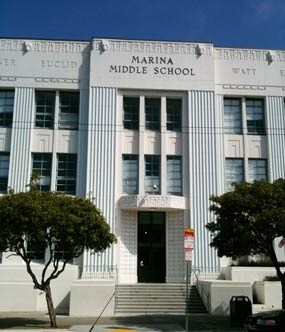 A section of the front of the Marina Middle school in San Francisco, CA.
