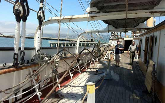 A portion of the starboard side of the maindeck of the BALCLUTHA.