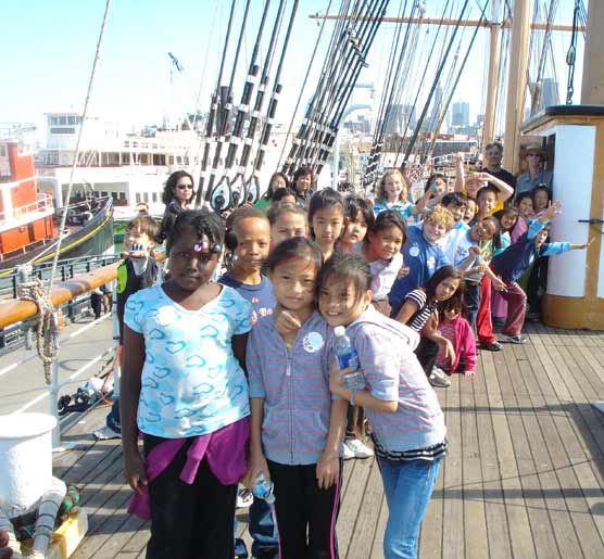 Fourth grade class on the upper deck of the BALCLUTHA.