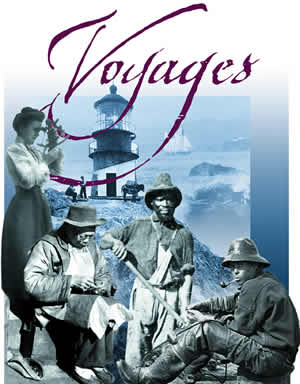 Collage of images on the cover of the Voyages curriculum.
