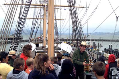 Children aboard the square rigged ship Balclutha.