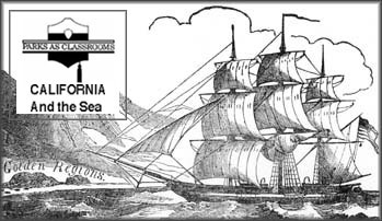Drawing of a square rigged sailing ship with wind filling the sails.
