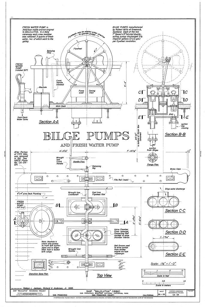 A technical drawing of pumps used on a ship.