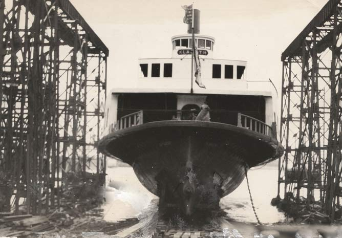 A historic photo of a ferryboat being launched.