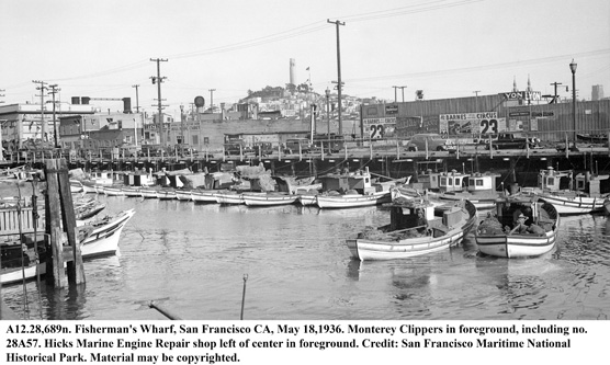 A photo taken in 1936 of Monterey fishing boats at Fisherman's Wharf in San Francisco, CA.