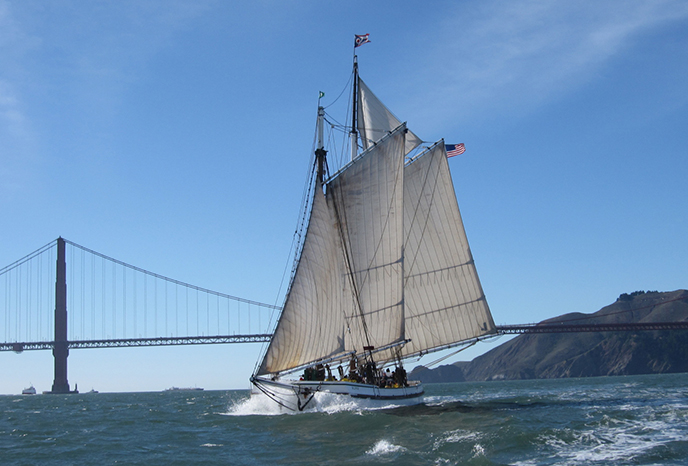 A sailboat on San Francisco Bay.