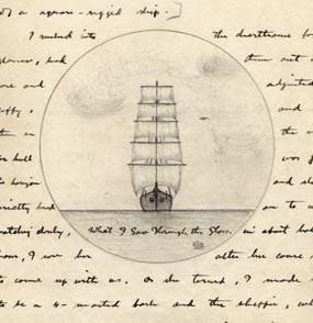 A page from a journal with a drawing of a sailing ship with words surrounding it.