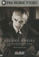 Typography in front of a black and white portrait of Eugene O'Neill turned to his left