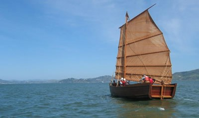 The shrimp junk, Grace Quan, sailing on San Francisco Bay.