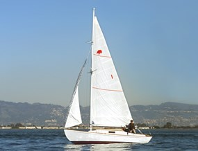 A boat sailing on SF Bay with a white mainsail and jib.
