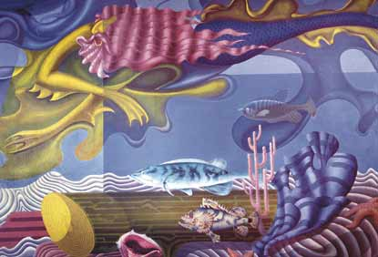 A colorful mural depicting imaginary creatures of the sea.
