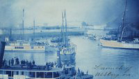 Cyanotype print of the USS Oregon launching ceremony, 26 October 1893. (P79-072.23p)