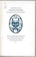 Face of the Ancient Mariner as a blue and white engraving in an oval on cream woven book cloth