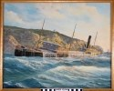 Color oil painting of the port view of the tanker with decks awash