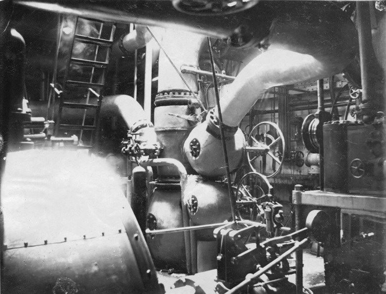 Interior of the engine room on a steam ship.