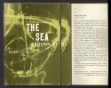 Book jacket with illustration of green seawater with yellow swirls on the left, and textual description of book on the right