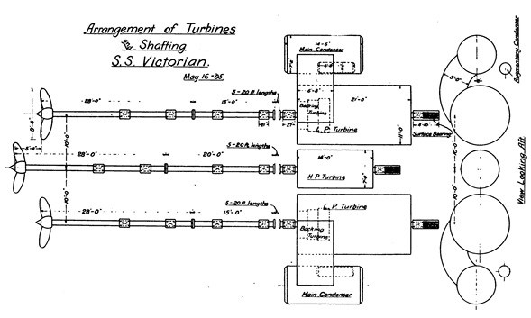 Technical drawing of a turbine arrangement.