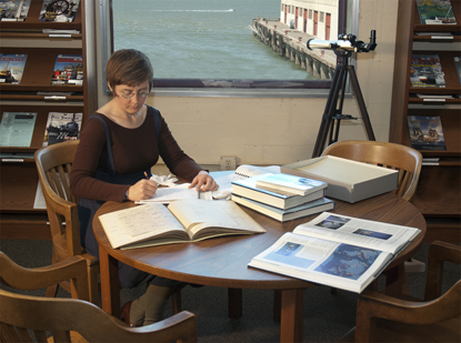 Researcher in Library Reading Room