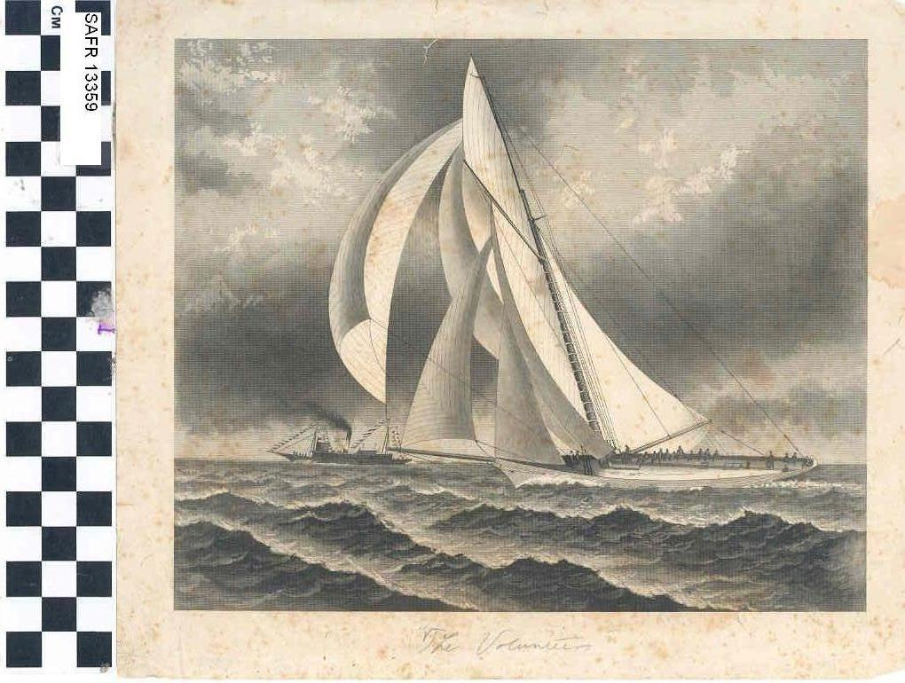 Engraving of yacht Volunteer (SAFR 13359)