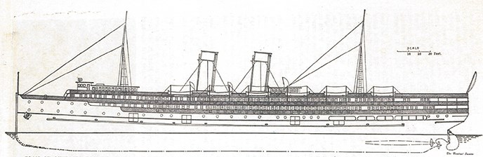 A line drawing of a steamship.