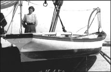 The C. A. Thayer's yawl boat. This photo was snapped at San Pedro in 1950. D9. 7,883n