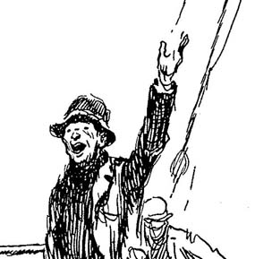 Drawing of waiving sailor from Gordon Grant's Sail Ho