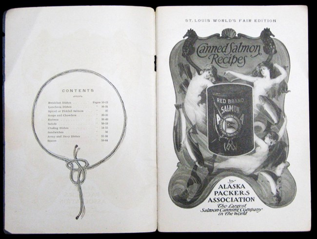 St. Louis World's Fair edition of Canned Salmon Recipes title page spread (SAFR 22657)