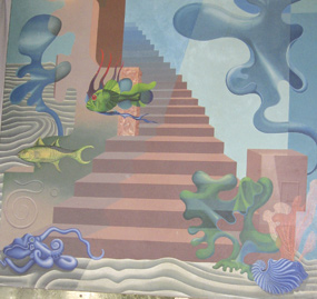 A section of the mural showing brighly-colored and strange-looking sea creatures and a staircase.