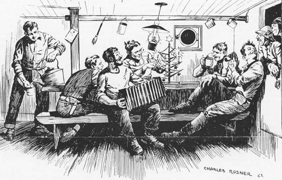 A black and white line drawing of men celebrating in the fo'c'sle of a ship.