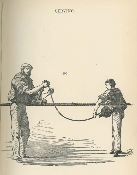 A drawing of a man and a boy working on a wire rope.
