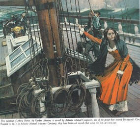 An oil painting of Mary Patten on the clipper ship <i>Neptune's Car</i> by Gordon Johnson.