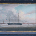 An oil painting of a three-masted sailing ship.