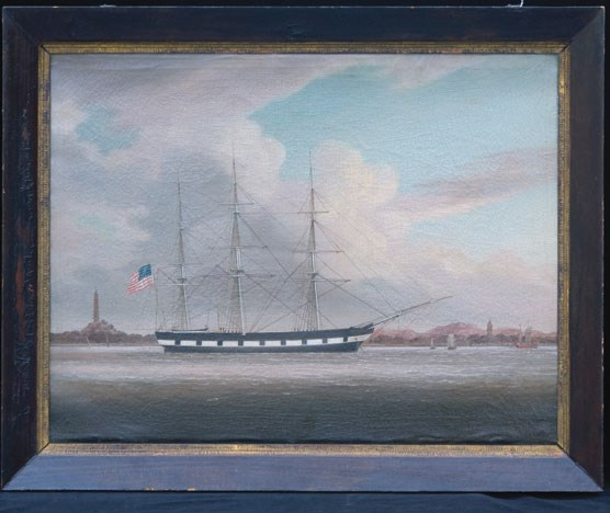 An oil painting of the sailing ship NIANTIC.